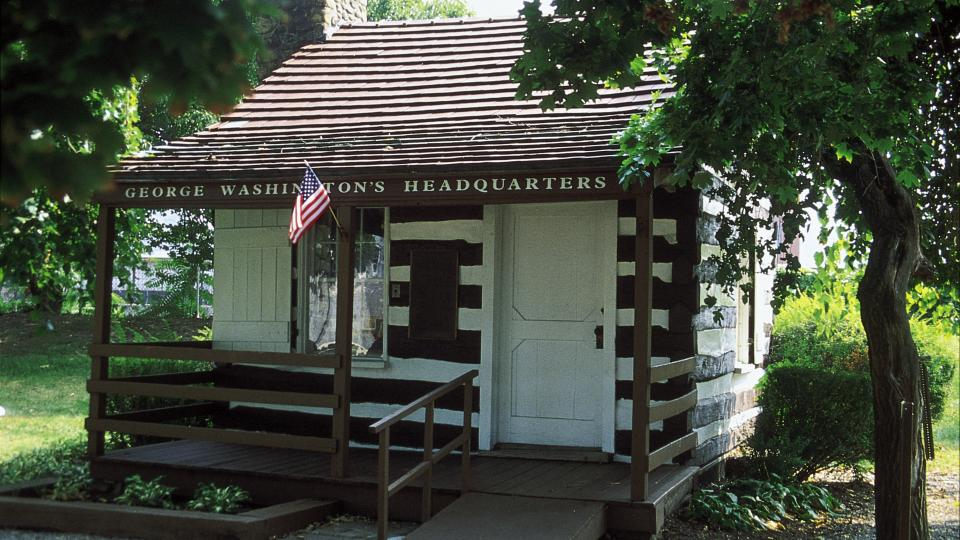 Known as George Washington's Headquarters, this one-room cabin was used by George Washington while an aide to General Braddock.