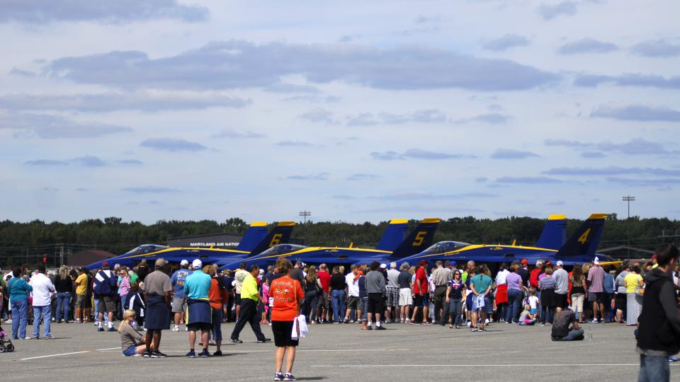 Crowds Gather at Martin State Airport to see the Planes on Display