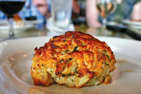 Broiled crab cake from Suicide Bridge Restaurant