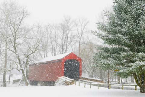 Loy's Station Covered bridge in Frederick on a snowy day
