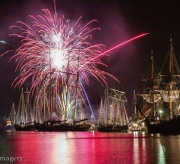 Fireworks display over tall ships on the Chester River (free event) Photo