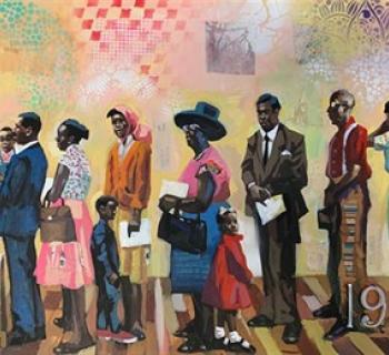 Voting line mixed media painting by Charly Palmer Photo