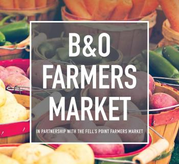 B&O Farmers Market graphic text over image of produce Photo