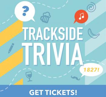 """Graphic text reading """"Trackside Trivia"""" on blue background with railroad symbols Photo"""