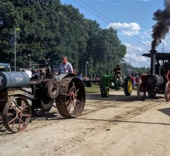 Twice a day parade of tractors and rolling stock. Photo