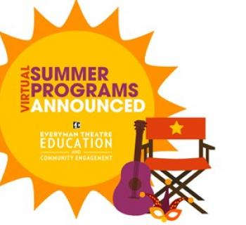 """A sun with Director's chair, guitar & mask with the words """"Virtual Summer Programs Announced"""" Photo"""
