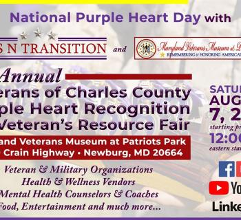 Veterans of Charles County Purple Heart Day Recognition & Veterans Fair poster Photo