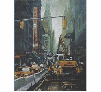 """Painting of a Crowded Street From """"Urban Topography""""  Photo"""