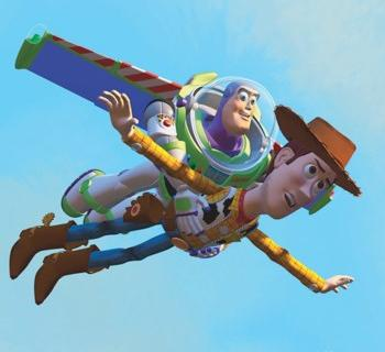 Woody and Buzz Lightyear flying in a blue sky Photo