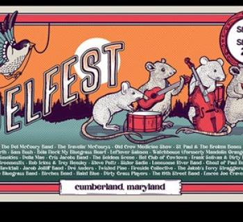 DelFest poster showing mice playing music.  Includes dates Sept 23 thru 26. Photo