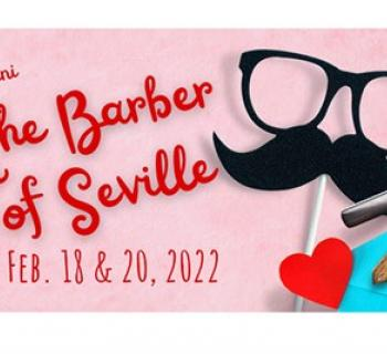 BCO's The Barber of Seville pink poster with black mustache and glasses graphic Photo