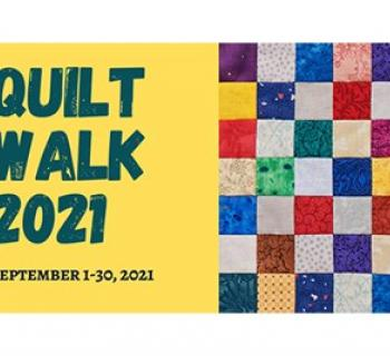 Quilt Walk poster with colorful quilting squares on the right half  Photo
