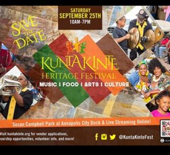 Colorful Kunte Kinte Heritage Festival poster with photos of visitors Photo