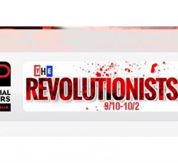 The Revolutionists in red letters on white background Photo