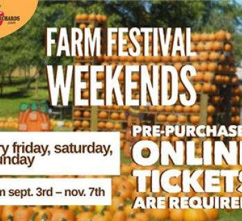 Farm Festival Weekends poster showing piles of pumpkins on the farm Photo
