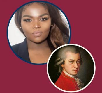 Composer Jasmine Barnes and Wolfgang Amadeus Mozart Photo