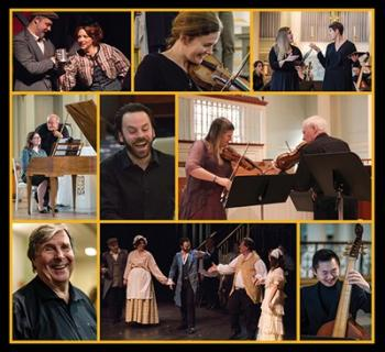 Montage showing various Mountainside Baroque musicians performing Photo
