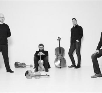 Brooklyn Rider Group dressed in black against a white background Photo