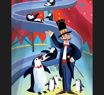Colorful drawing of Mr. Popper and penguins enjoying a slide Photo