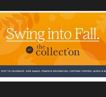 Swing into Fall banner with pumpkin orange background Photo