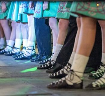 Irish dance troupe getting ready to perform. Photo