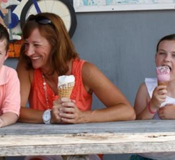 A Mother, son and daughter enjoying an ice cream cone from Scottish Highland Creamery Photo