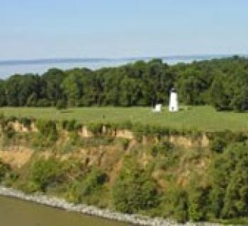 Aerial view of Turkey Point Lighthouse located at Elk Neck State Park Photo