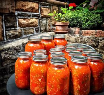 Jars of gazpacho Photo