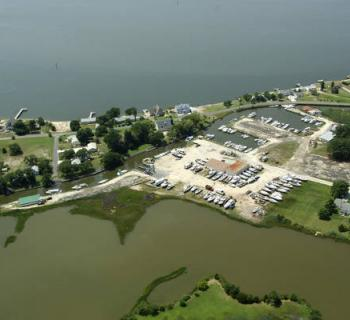 Aerial view of Scott's Cove Marina Photo