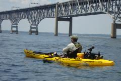 Kayak fishing at the Chesapeake Bay Bridge