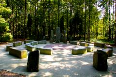The AnnMarie Sculpture Garden features a wooded walking path that meanders past sculpture, including works on loan from the Smithsonian Institution and the National Gallery of Art.