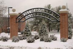 Frostburg State University sign in snow