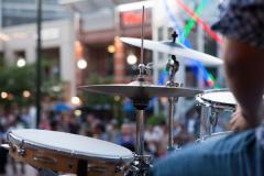view of crowd through drum kit