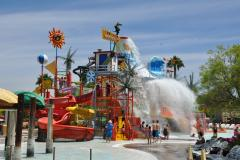 Splashwater Falls at Six Flags America is a multi-level play structure with more than one hundred features