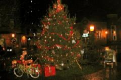 Town of Berlin Christmas tree and bike during Victorian Christmas