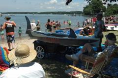 People racing boats