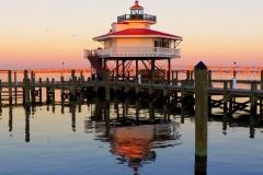 The Choptank River Lighthouse in Cambridge is a replica lighthouse of the one that once guided ships along the Choptank River.