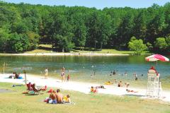 People relax at the Cunningham Lake
