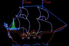 image of ship in Christmas lights
