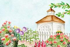 watercolor of garden