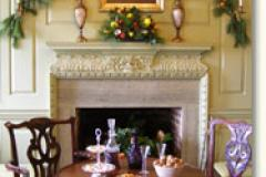 Colonial room decorated for the holidays