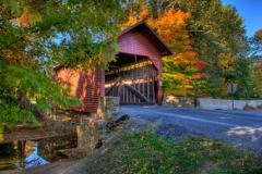 Covered bridge during fall