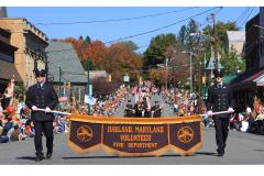 Oakland  Volunteer Fire Department walks in the Garrett County Autumn Glory Parade