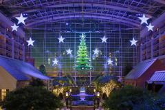Gaylord Atrium at National Harbor Decorated for the Holidays