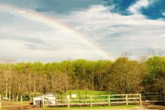 Graham Equestrian Center property with a rainbow overhead