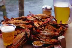 Enjoy crabs and beer while dining on the deck or inside at Harris Crab House.