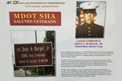 A poster of the dedication for LCPL Dale Burger, JR. by MDOT SHA