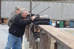 People trap shooting