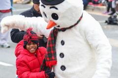 Boy with Frosty the Snowman