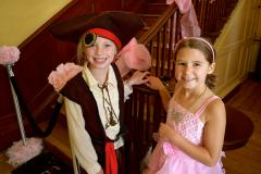 Children dressed as a pirate and princess